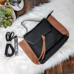 Color Block Satchel Bag in Black/Camel